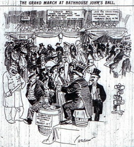 "(Pictured: editorial cartoon in the Tribune depicting the First Ward Ball. The sign on the barrell in front reads, ""Guests not contributing voluntarily will regret it!"")"
