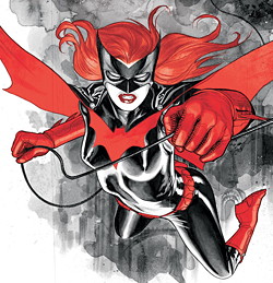 Kate Kane as Batwoman on the cover of Detective Comics #854. Art by J. H. Williams III.