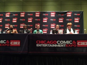 "Panelists Ramon K. Perez, Turtel Onli, Jay Fuller, Marjorie M. Liu and Gail Simone at Sunday's ""Diverse Means for Diverse Worlds"" panel at C2E2 (left to right). \ PHOTO BY ALEX V. HERNANDEZ"