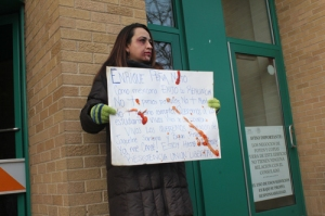 Montserrat Casanova was one of the protestors on Monday. Photo by Alex V. Hernandez